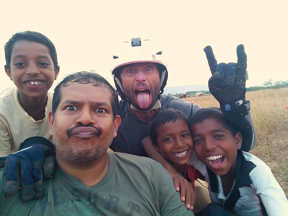 Fooling about in the landing field - at Nirvana Paragliding Club, Kamshet - India