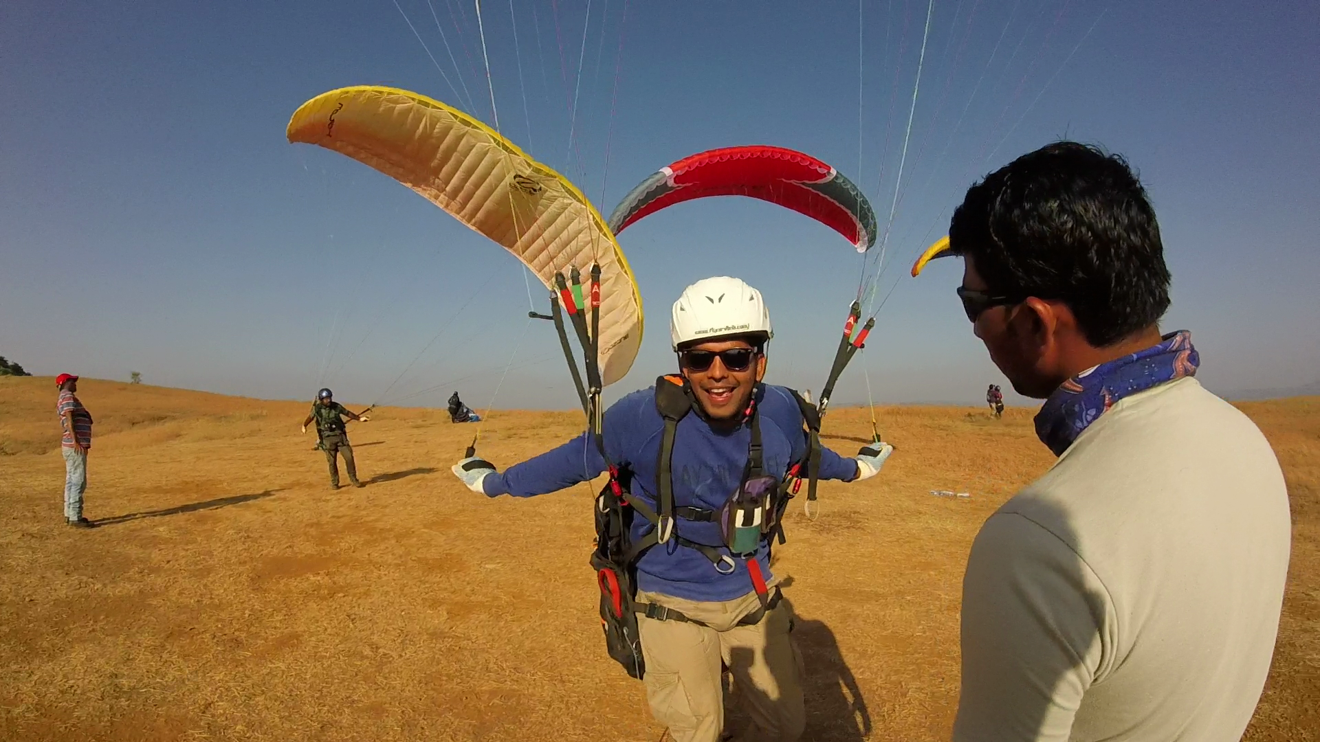 Ready for takeoff! — with Anand Karthik and Ganesh Shinde at Nirvana Paragliding Club , Kamshet , India